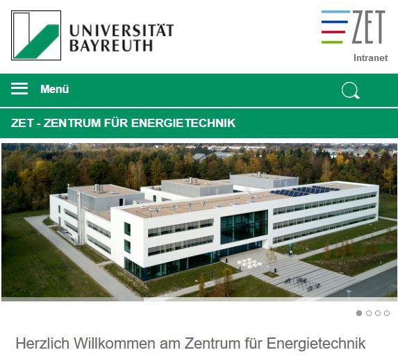 Startseite der neuen ZET-Homepage