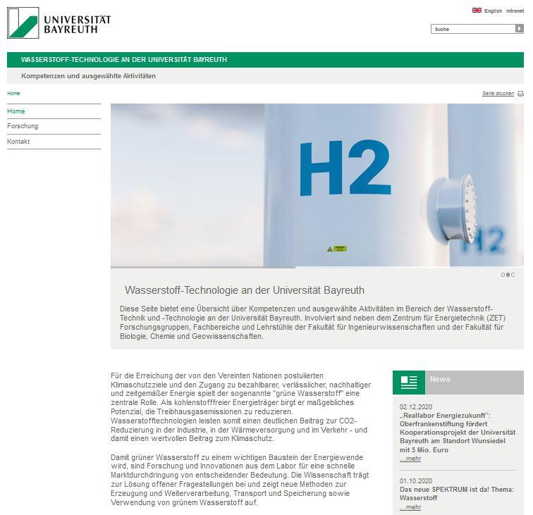 Startseite der neuen Website der Universität Bayreuth zum Forschungsschwerpunkt Wasserstoff